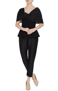 Gauri & Nainika Black moss crepe & organza bow detail blouse
