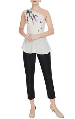 Gauri & Nainika White one-shoulder peplum moss georgette blouse