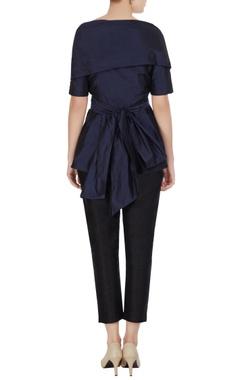 Navy blue taffeta wrap & tie-up blouse