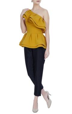 Gauri & Nainika Mustard one-shoulder ruffle detail mirco crepe blouse
