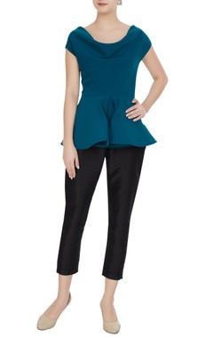 Gauri & Nainika Cobalt cowl neckline mirco crepe blouse