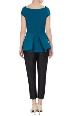 Cobalt cowl neckline mirco crepe blouse