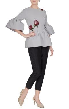 Gauri & Nainika Grey micro-crepe ruffle sleeve blouse