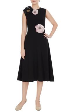 Gauri & Nainika Black micro crepe peonies a-line midi dress