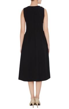 Black micro crepe peonies a-line midi dress