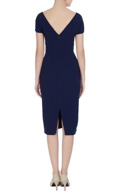 Navy blue micro crepe peonies pencil dress