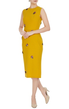 Gauri & Nainika Yellow micro crepe peonies pencil dress