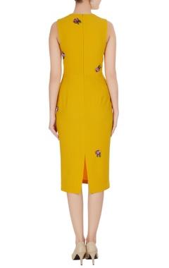 Yellow micro crepe peonies pencil dress