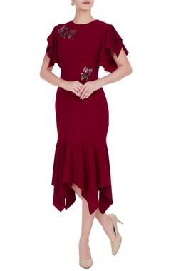 Gauri & Nainika Maroon ruffle sleeve sequin embroidered mirco crepe asymmetric dress