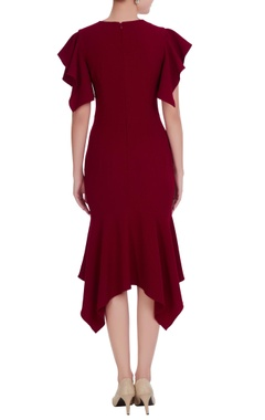 Maroon ruffle sleeve sequin embroidered mirco crepe asymmetric dress