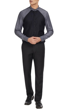 Dhruv Vaish Black & grey cotton color block shirt