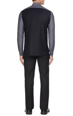 Black & grey cotton color block shirt