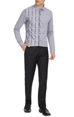 Dhruv Vaish Grey cotton button down shirt in numeric print