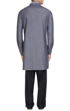 Smoke grey cotton high collar kurta