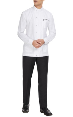 Dhruv Vaish White cotton-linen blend long sleeve shirt