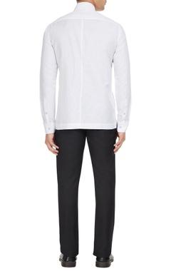 White cotton-linen blend long sleeve shirt