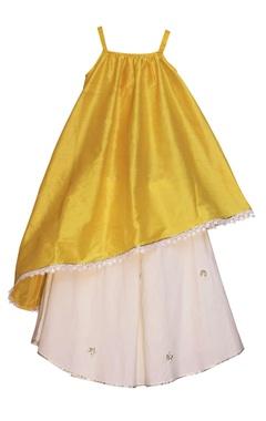 Sorbet yellow asymmetric kurta with off-white lehenga