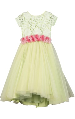 Sugar Candy Sea-green lace & cancan flower-girl gown