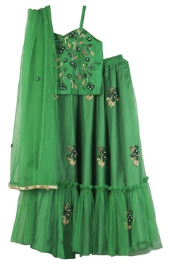 Sugar Candy Goblin green net hand-embroidered lehenga set