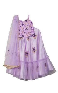 Purple net & satin floral hand embroidered lehenga set