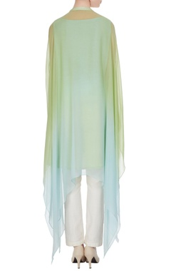 Green & blue sequin hand embroidered kaftan-kurta