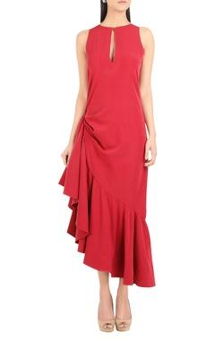 Crepe frilly ruffle asymmetric dress