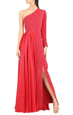 Dual fabric one-shoulder gown