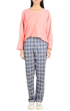 Check printed pure cotton trousers