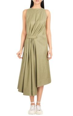 Pure cotton midi dress with gathered waist