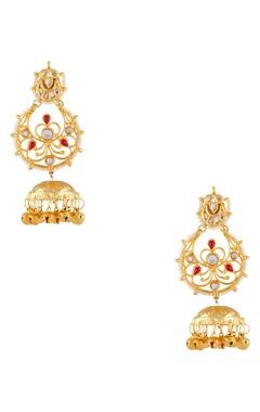 Just Shradha's Gold plated pearl dangling jhumka earrings