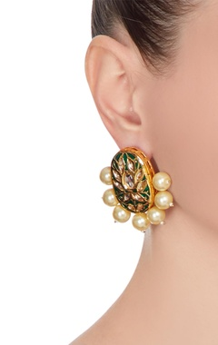 Meena work circular earrings