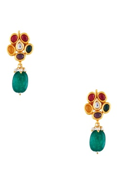 Dangling earrings with multicolored stones