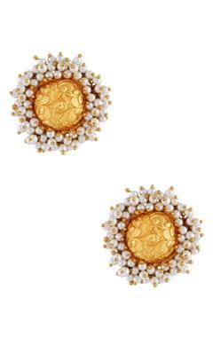 Circular stud floral motif earrings