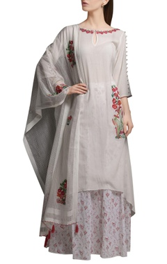 Mandira Wirk Ivory embroidered asymmetric cotton georgette kurta with block printed cotton palazzos & organza dupatta