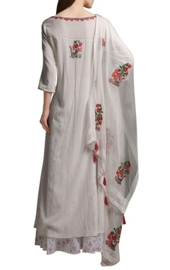 Ivory embroidered asymmetric cotton georgette kurta with block printed cotton palazzos & organza dupatta