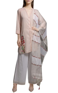 Mandira Wirk Pearl pink cotton embroidered short kurta with pants & dupatta