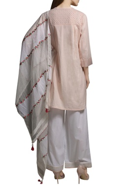Pearl pink cotton embroidered short kurta with pants & dupatta