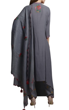 Ash grey floral embroidered cotton georgette asymmetric kurta set