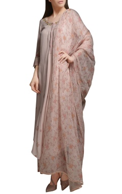 Mandira Wirk Pearl pink asymmetric embroidered cotton georgette kurta set