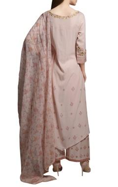 Pearl pink asymmetric embroidered cotton georgette kurta set