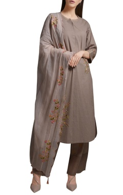 Mandira Wirk Grey floral embroidered cotton kurta with cotton silk palazzos & dupatta