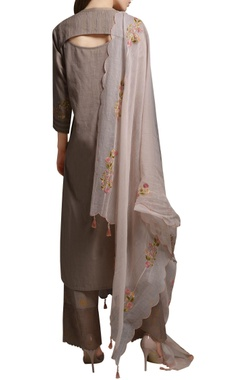 Grey floral embroidered cotton kurta with cotton silk palazzos & dupatta