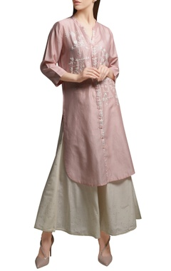 Mandira Wirk Blush pink front open embroidered tunic with cotton silk flared pants