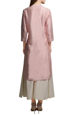 Blush pink front open embroidered tunic with cotton silk flared pants