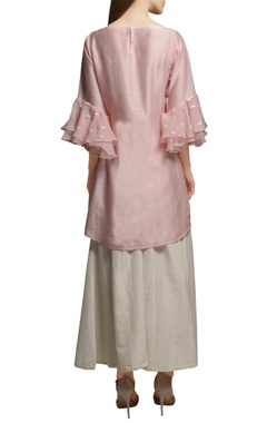 Blush pink chanderi kurta with cotton silk flared pants