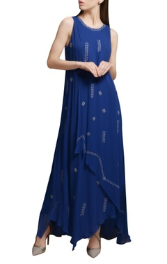Mandira Wirk Royal blue georgette asymmetric maxi dress