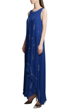 Royal blue georgette asymmetric maxi dress