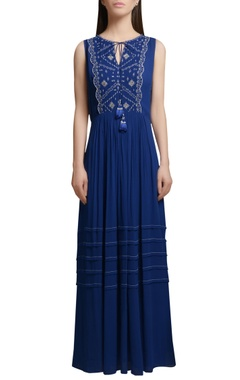 Mandira Wirk Royal blue georgette maxi dress with embroidered yoke & tassels