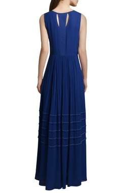 Royal blue georgette maxi dress with embroidered yoke & tassels