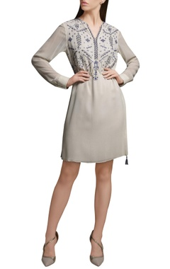Mandira Wirk Ivory embroidered short georgette tunic with drawstrings